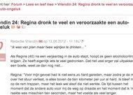 Ze was van plan om maar twee wijntjes te drinken, maar ze dronk meer en veroorzaakte een ongeluk...