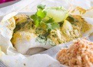 Recept voor pittige vispakketjes met kokossambal