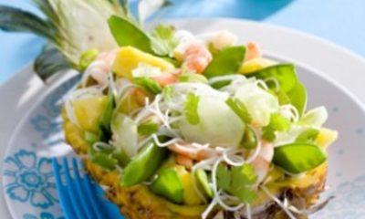 Recept voor peultjes met ananas en garnalen