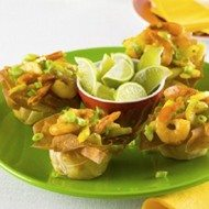 Recept voor pittige garnalensalade in knapperige filobakjes