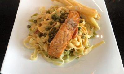 Recept voor pasta met zalm en asperges