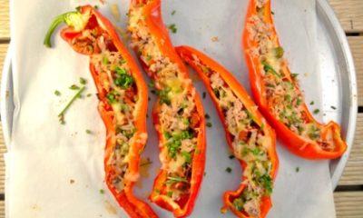 Recept voor puntpaprika's met tonijn, zongedroogde tomaten en kappertjes