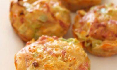 Recept voor hartige muffins met ham, kaas en prei