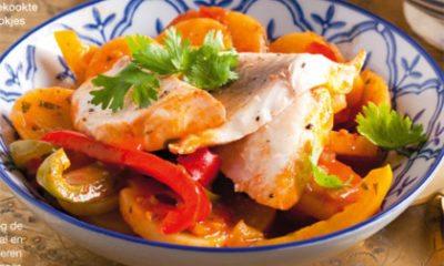 Recept voor vistajine met 3 kleuren paprika