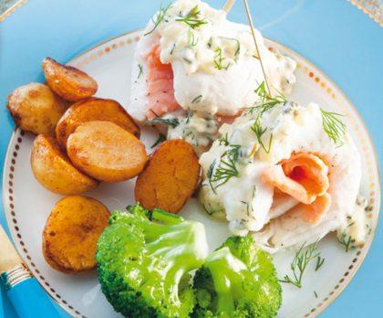 Recept voor visrolletjes met gerookte zalm en dille-kappertjessaus
