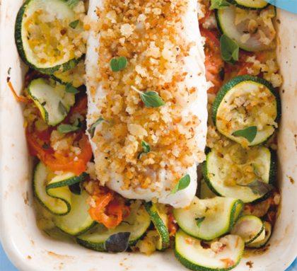 Recept voor gegratineerde vis met groenten