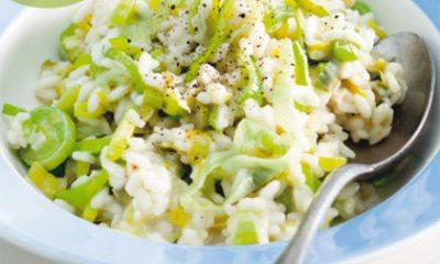 Recept voor vegetarische preirisotto met 2-kazen
