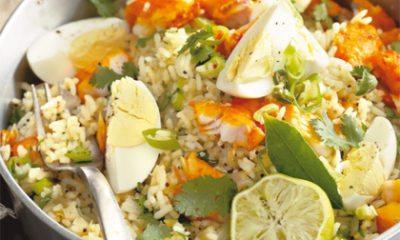 Recept voor kedgeree met koriander, chili en limoen