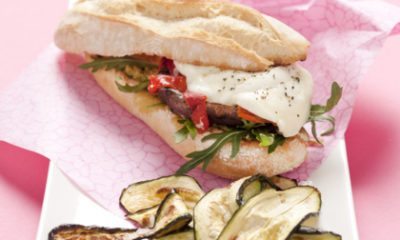 Recept voor portobello-burgers met mozzarella en paprika