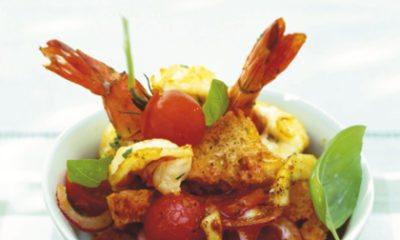 Recept voor tomaten-broodsalade met gamba's