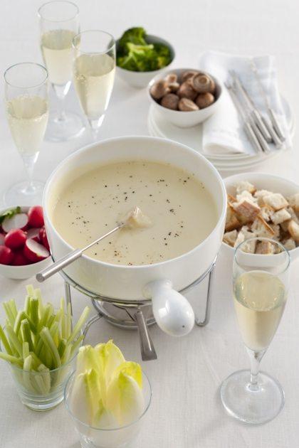 Recept voor romige kaasfondue met champagne