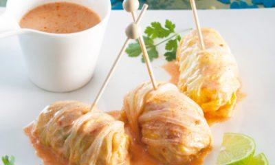 Recept voor Thaise koolrolletjes met gehakt en kokossaus