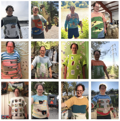 Grappig: man breit truien passend bij vakantiebestemmingen