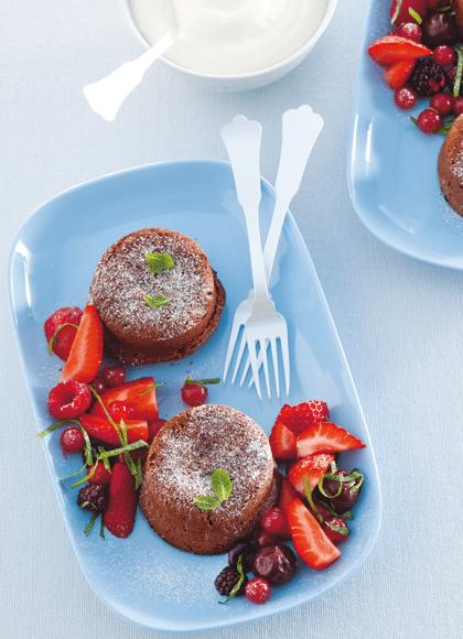 Recept voor Lava-cakejes met rood fruit