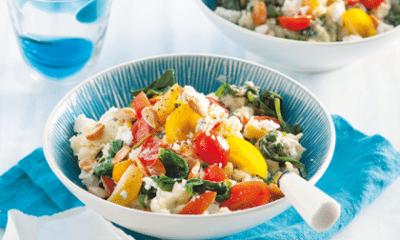 Recept voor spinaziestamppot met feta en amandel