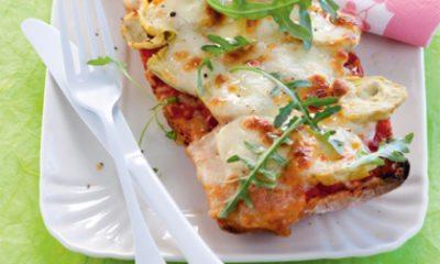 Recept voor ciabatta-pizza met artisjok