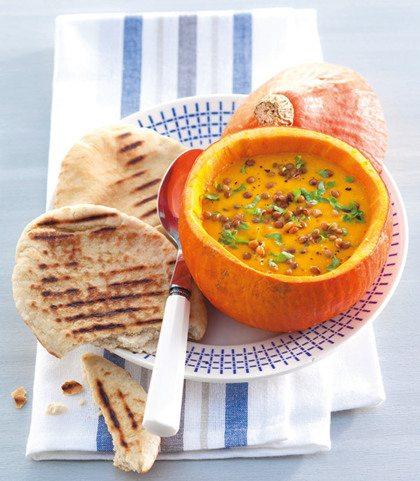 Recept voor Indiase pompoen-linzensoep
