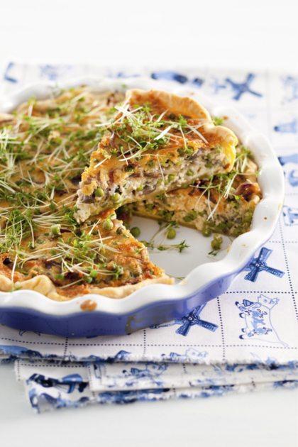 Recept voor erwtenquiche met oude kaas