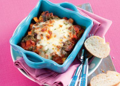 Recept voor pesto-groente lasagne met stokbrood