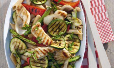 Recept voor volkoren pastasalade met gegrilde kipfilet