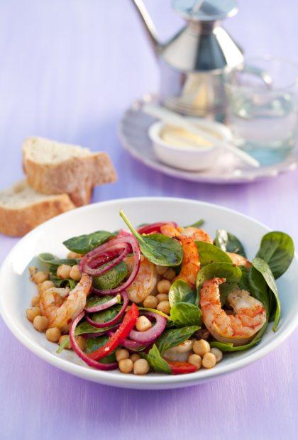 Recept voor salade met garnalen en kikkererwten