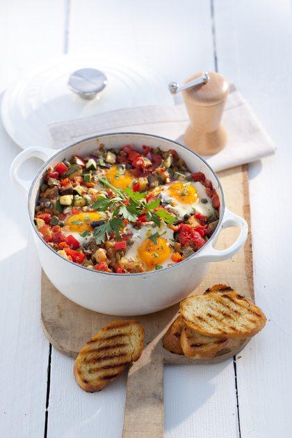 Recept voor ratatouille met eitjes
