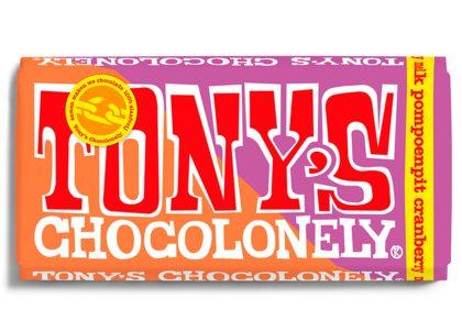 Nieuwe reep Tony Chocolonely: melk pompoenpit cranberry