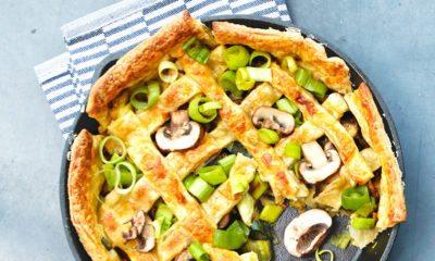 Recept voor hartige taart met kip, prei en champignons