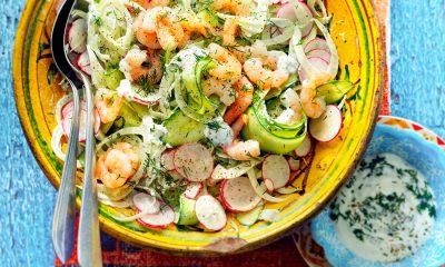 Recept voor salade van venkel, komkommer en garnalen