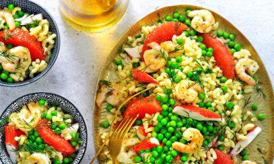 Recept voor pastasalade met surimi en grapefruit