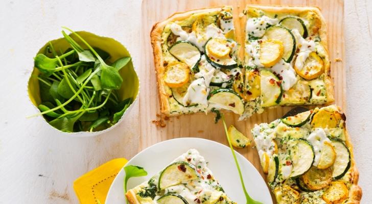 Recept voor knapperige plaattaart met courgette en ricotta