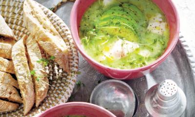 Recept voor soep van komkommer en avocado met kabeljauwfilet