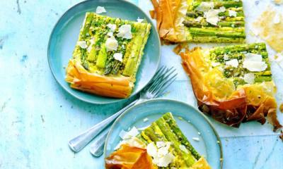 Recept voor filotaart met ham en groene asperges